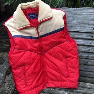 Vintage Puffer Vest Corduroy Nylon sz M